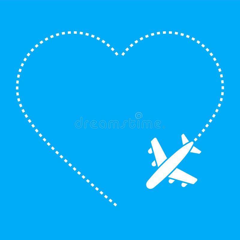 Ruta del aeroplano del amor aislada en el fondo blanco Ilustraci?n del vector foto de archivo