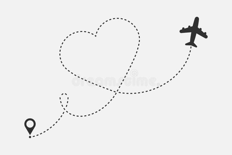 Ruta del aeroplano del amor aislada en el fondo blanco Ilustraci?n del vector imagen de archivo libre de regalías