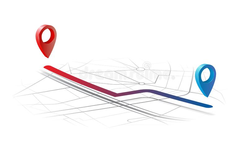 Ruta del navegador de los Gps del punto a para señalar b en el concepto del mapa ilustración del vector
