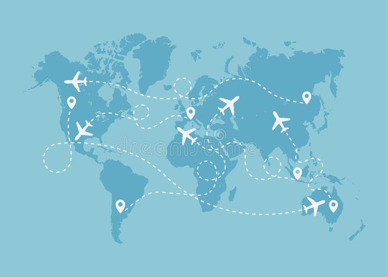 Ruta del viaje del aeroplano con concepto del punto del comienzo en mapa del mundo libre illustration