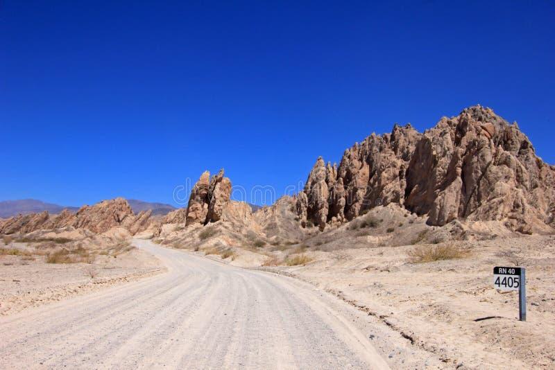 Ruta nacional 40, quebrada de las Flechas, flechas rotas, Salta, Cafayate, la Argentina foto de archivo libre de regalías