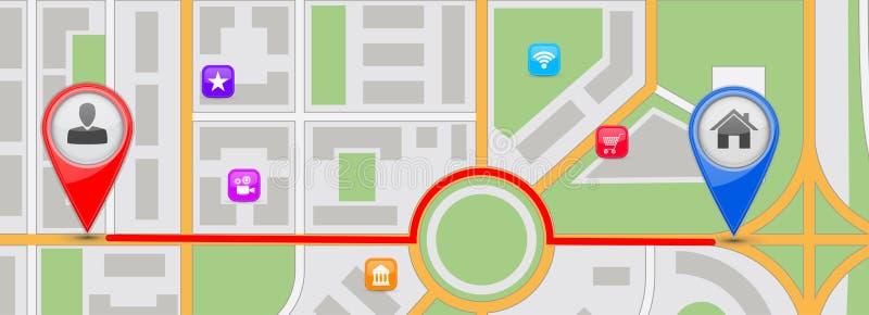 Ruta para dirigirse el destino Correspondencia de la ciudad ilustración del vector