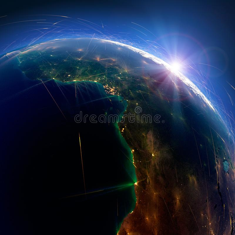 Rutas de aire detalladas en la tierra ?frica Angola, Gabón, el Camerún representaci?n 3d fotografía de archivo libre de regalías