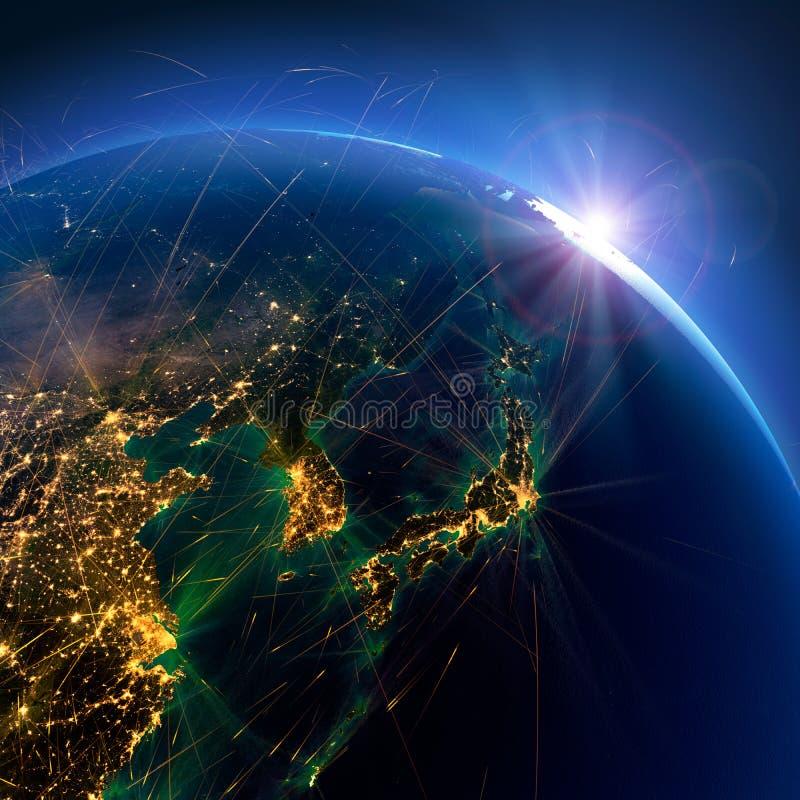 Rutas de aire detalladas en la tierra Jap?n, Corea, China representaci?n 3d ilustración del vector