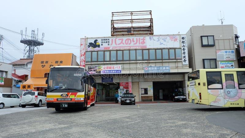 Rutas de autobús para tener acceso a Kumano Kodo, Kumano Hongu Taisha, Kumano Nachi Taisha foto de archivo libre de regalías