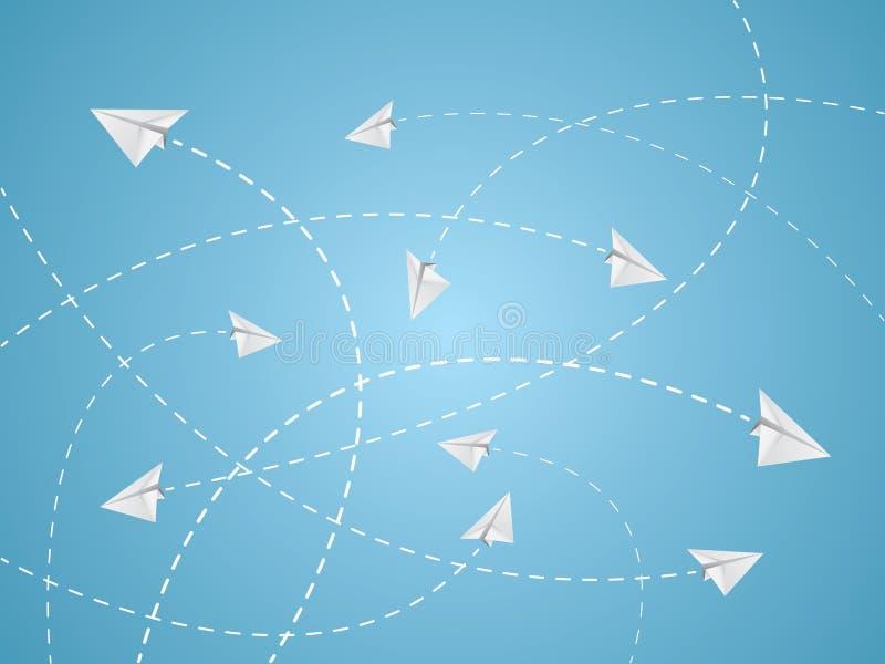 Rutas de vuelo blancas del color del avión o de los aviones de papel con las líneas de la travesía en fondo azul ilustración del vector