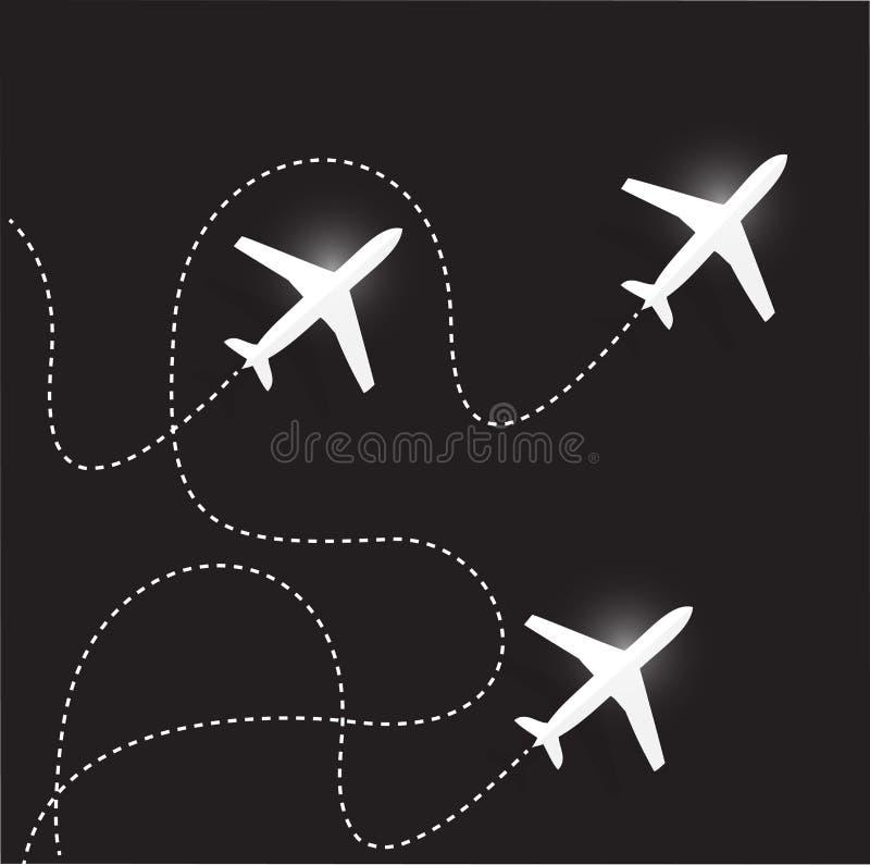 Rutas y aeroplanos de la mosca Diseño de la ilustración ilustración del vector