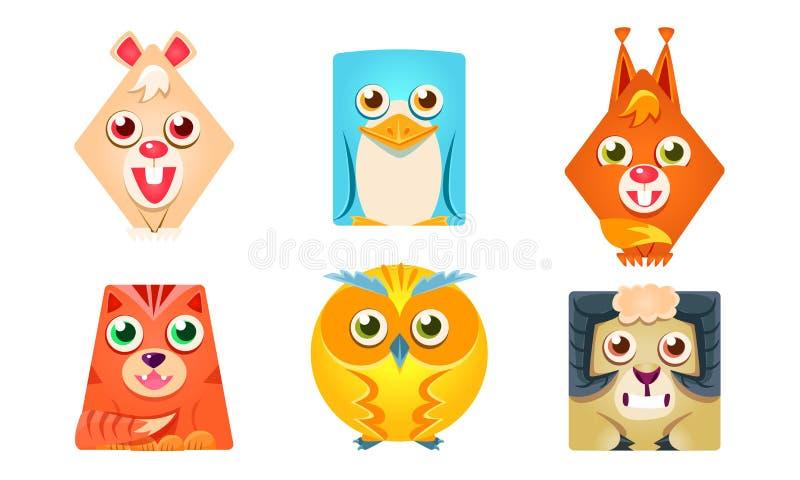 Rute Tiere mit geometrischen Formen, Kaninchen, Penguin, Fox, Tiger, Schaf, Vektorbilder stock abbildung