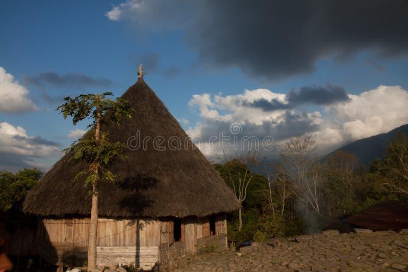 Ruteng Puu tradtionalby, hus som är typiska för det Manggarai området i Flores fotografering för bildbyråer