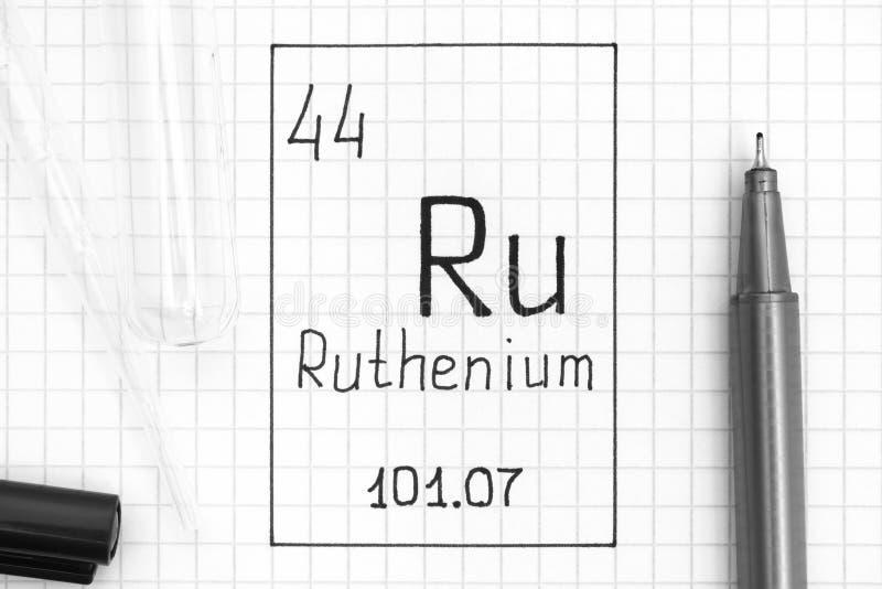 Ruthénium RU d'élément chimique d'écriture avec le stylo, le tube à essai et la pipette noirs image libre de droits