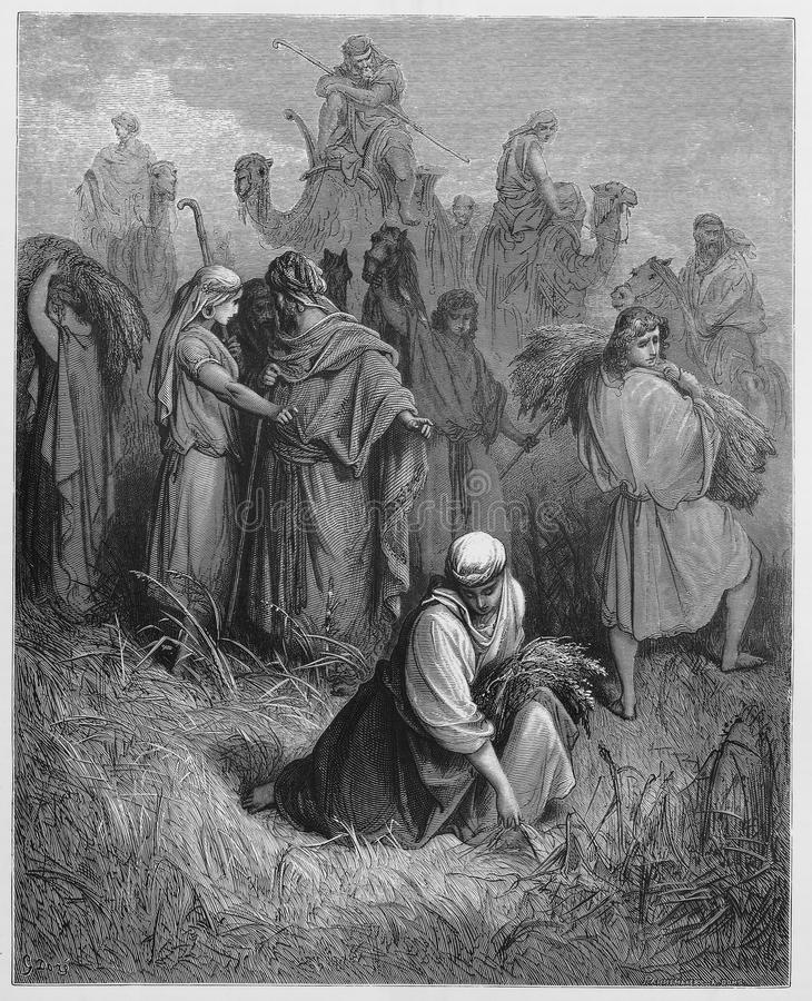 Ruth and Boaz. Picture from The Holy Scriptures, Old and New Testaments books collection published in 1885, Stuttgart-Germany. Drawings by Gustave Dore