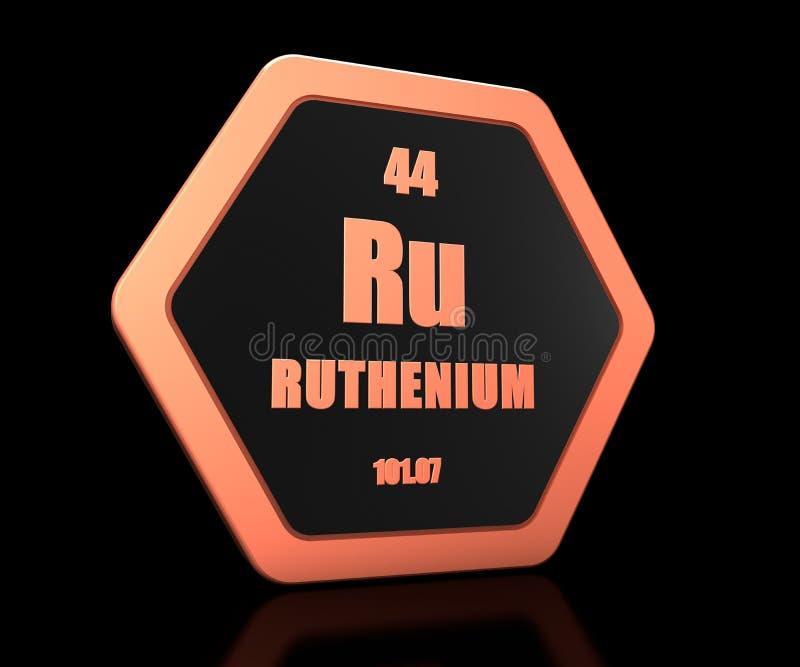 Ruthenium chemical element periodic table symbol 3d render stock illustration