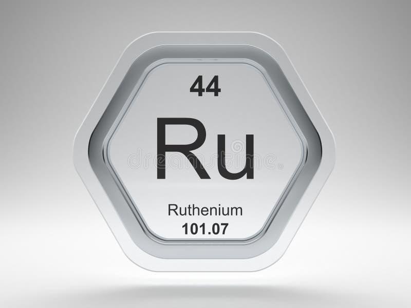 Ruthenium symbol hexagon frame vector illustration