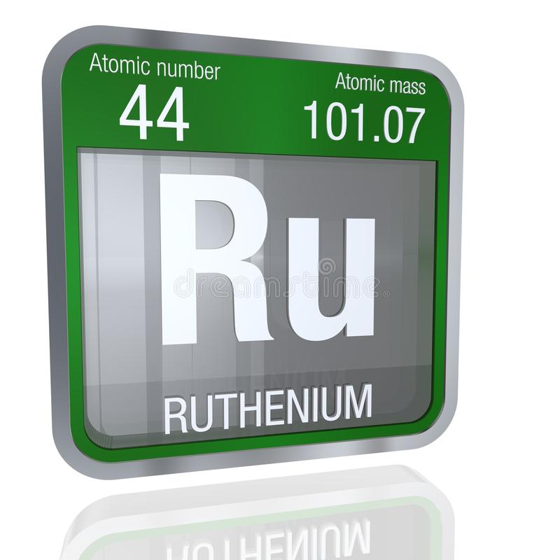 Ruthenium symbol in square shape with metallic border and transparent background with reflection on the floor. 3D render. stock illustration