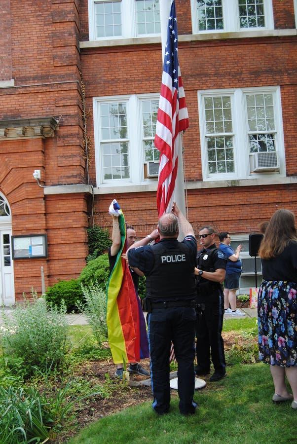Pride Flag Raising Event, Rutherford, NJ, USA stock photos