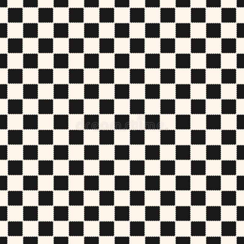 Rutig geometrisk sömlös modell för vektor med små ojämna fyrkanter royaltyfri illustrationer