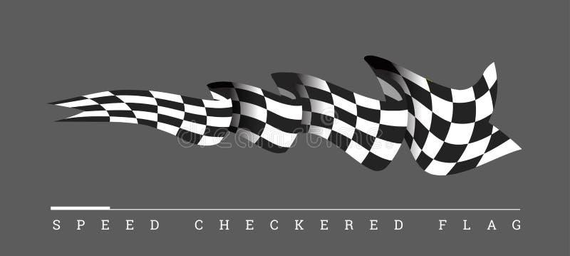 Rutig illustration för loppflaggavektor på mörk grå bakgrund royaltyfri illustrationer