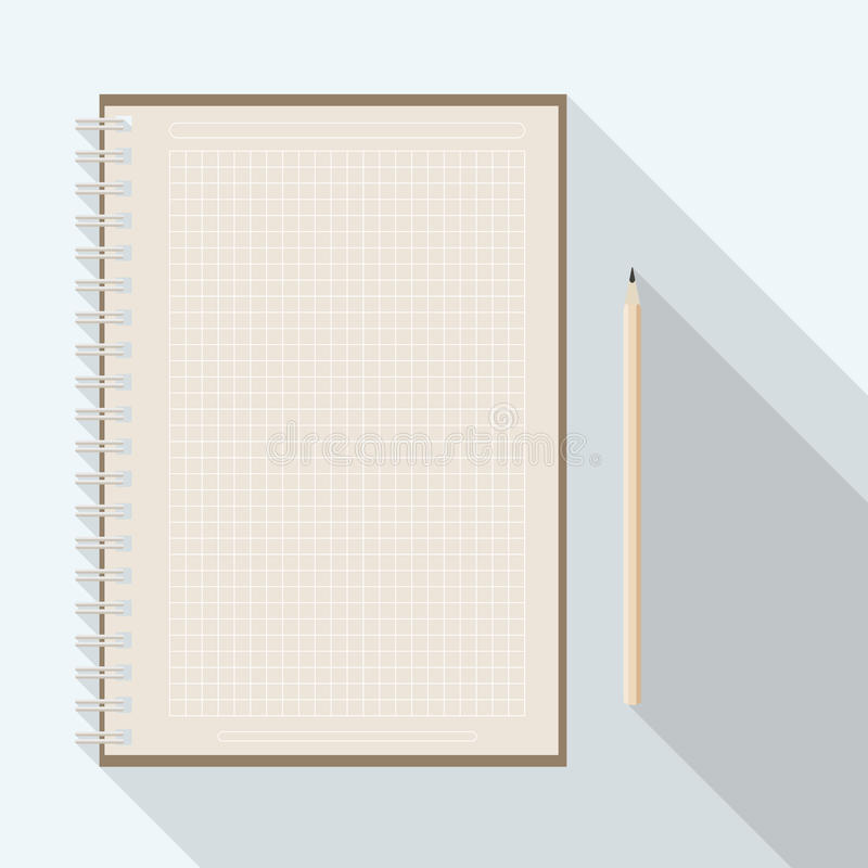 Rutig papper anteckningsbok för blyertspenna och för kraft för mellanrum vektor illustrationer