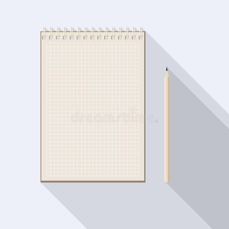 Rutig papper anteckningsbok för blyertspenna och för kraft för mellanrum royaltyfri illustrationer