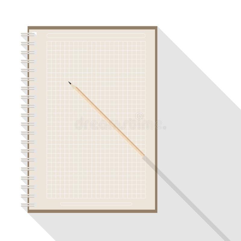 Rutig papper anteckningsbok för blyertspenna och för kraft för mellanrum stock illustrationer