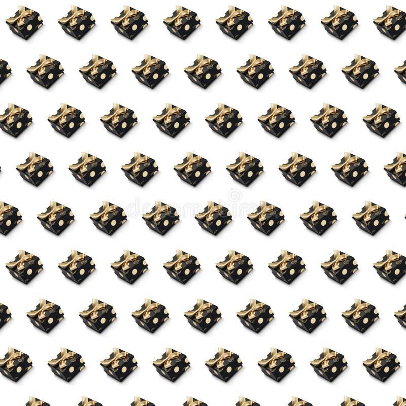 Rutig prydnad för svart gåva på vit bakgrund royaltyfri illustrationer