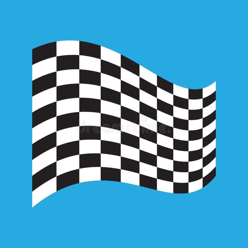 Rutig t?vlings- flagga som isoleras p? bl?tt stock illustrationer