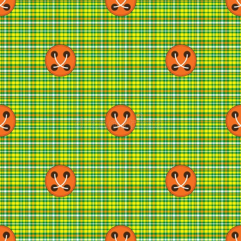 Rutig tyggräsplan med orange knappar vektor illustrationer