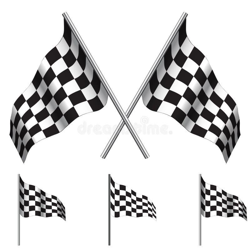 Rutiga flaggor (springa). Vektor stock illustrationer
