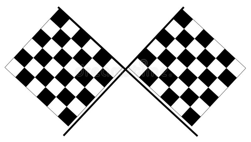 Rutiga flaggor - svartvita springa flaggor royaltyfri bild
