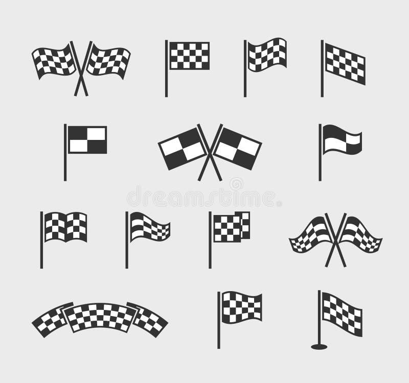 Rutiga vektorflaggor Tävlings- vinkande fullföljande- och startlinje flaggauppsättning som isoleras på vit bakgrund vektor illustrationer