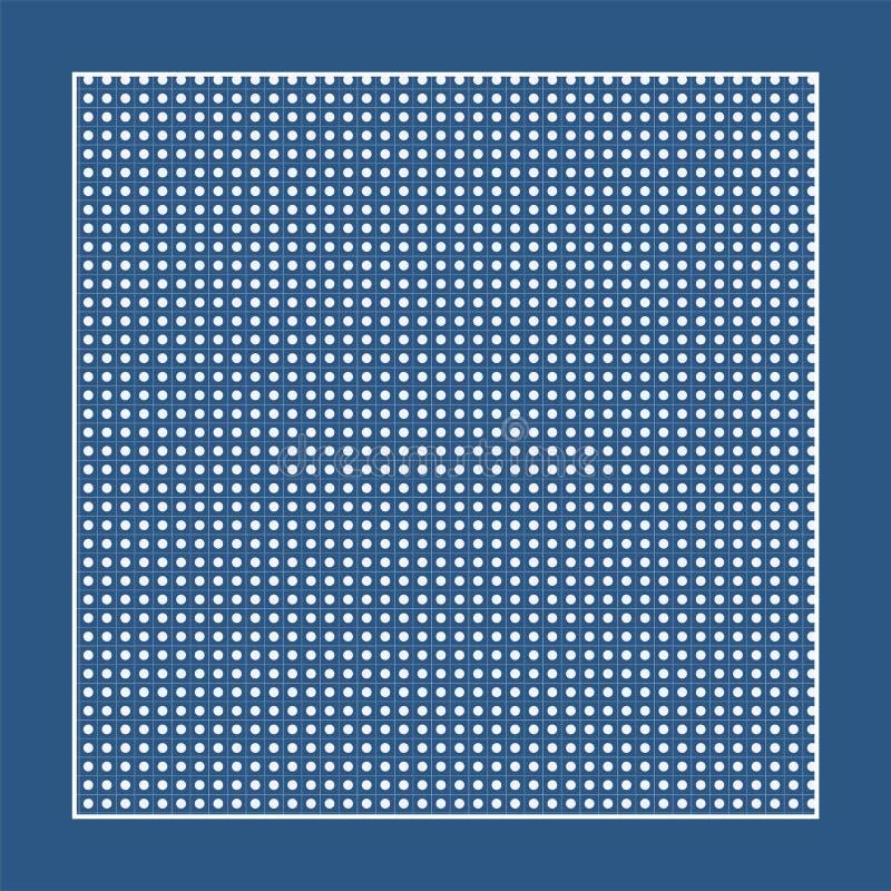 Rutigt blått tyg med vitcirklar och en ram stock illustrationer