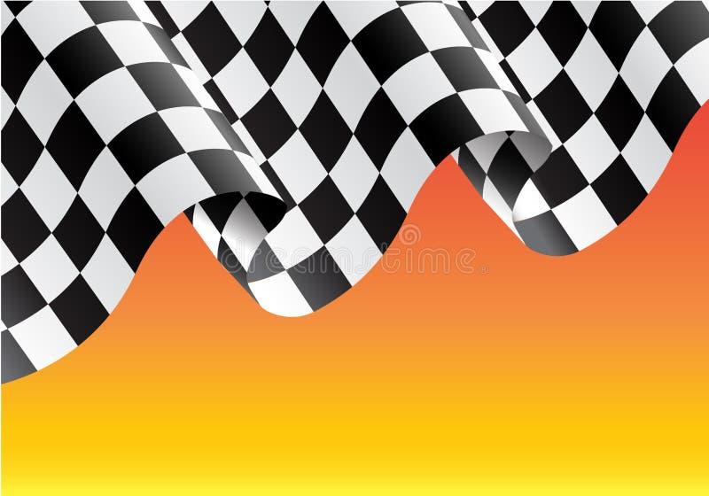 Rutigt flaggaflyg på gul vektorillustratio vektor illustrationer