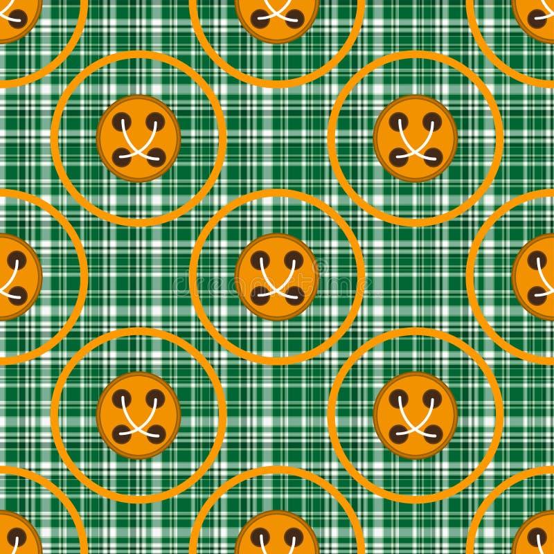 Rutigt grönt tyg med apelsinen cirklar och knäppas vektor illustrationer