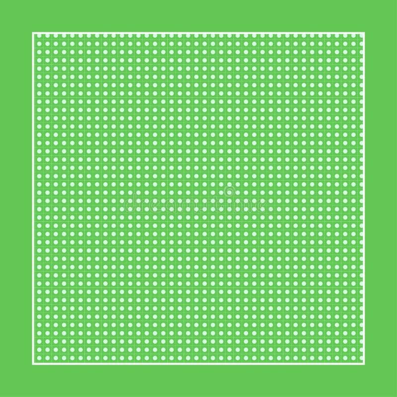 Rutigt grönt tyg med vitcirklar och en ram vektor illustrationer