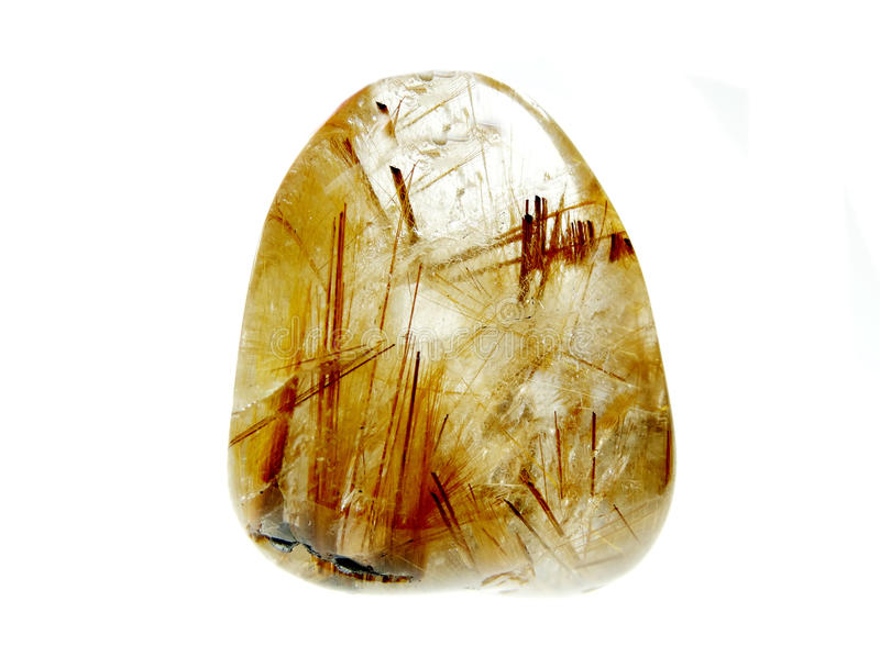 Rutilated kwarcowy geological kryształ fotografia stock