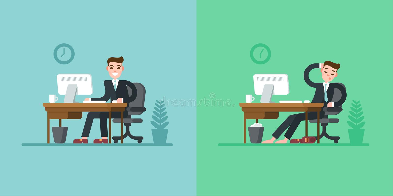 Rutina diaria del oficinista Hombre de negocios en el traje que se sienta en el escritorio y que trabaja en el ordenador Cansado  ilustración del vector