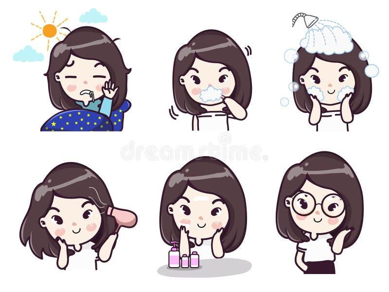 Rutinas diarias de muchachas cada día libre illustration