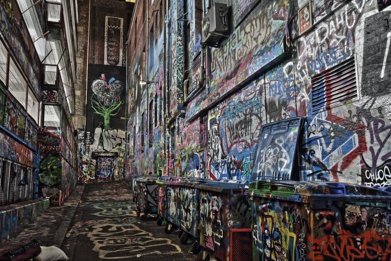 Rutledge-Weg Graffity-Straße Melbourne HDR stockfotos
