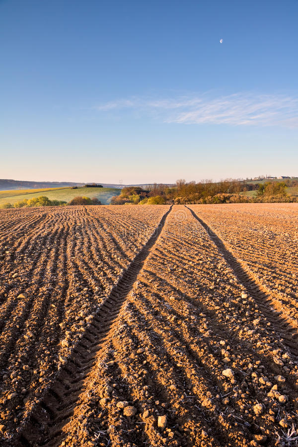 Ruts in plowed field. Spring farmland with blue sky stock image