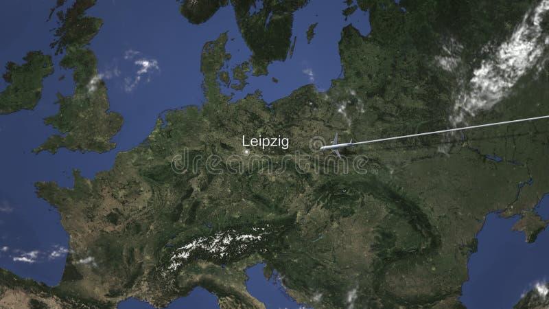 Rutt av ett kommersiellt plant flyg till Leipzig, Tyskland på översikten framf?rande 3d royaltyfri illustrationer