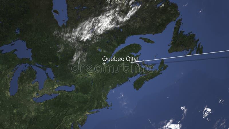 Rutt av ett kommersiellt plant flyg till Quebec City, Kanada på översikten framf?rande 3d stock illustrationer