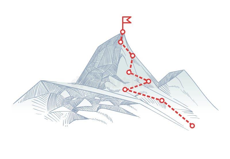 Rutt för bergklättring som ska nås en höjdpunkt Affärsresabana som är pågående till framgångvektorbegreppet vektor illustrationer