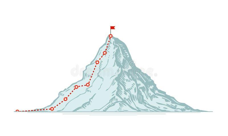 Rutt för bergklättring vektor för illustration för affärsdollareuro stock illustrationer