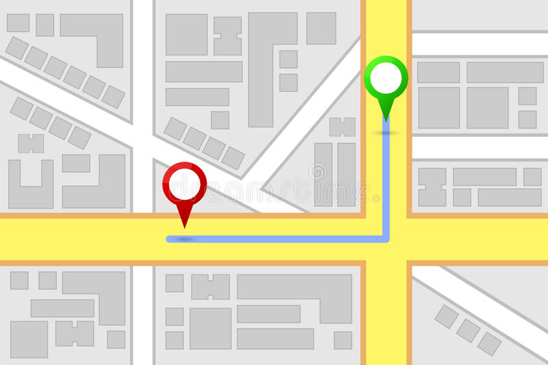 Rutt för stadsöversiktsdestination stock illustrationer