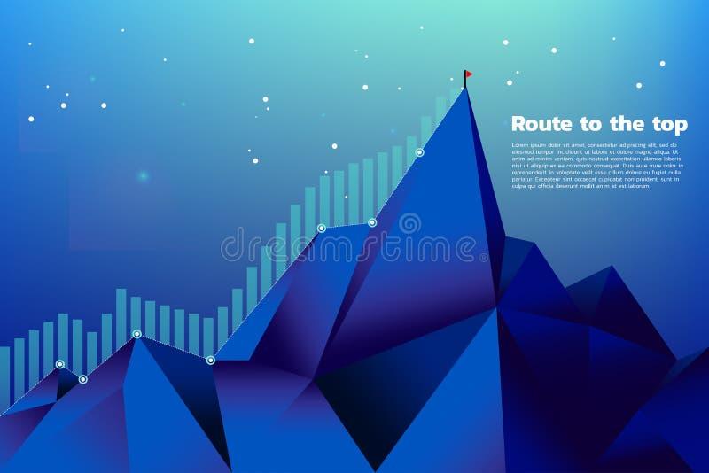 Rutt till överkanten av berget: Begreppet av målet, beskickningen, vision, karriärbanan, polygonprick förbinder linjen stil vektor illustrationer