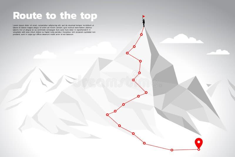 Rutt till överkanten av berget: Begreppet av målet, beskickningen, vision, karriärbanan, polygonprick förbinder linjen stil stock illustrationer