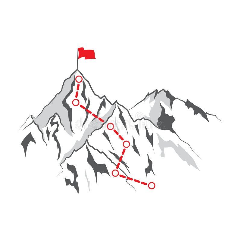 Rutt till överkanten av berget: Begreppet av målet, beskickningen, vision, karriärbanan, prick för vektorbegreppspolygon förbinde vektor illustrationer