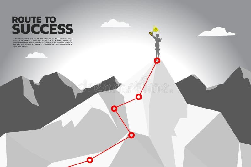 Rutt till framgång kontur av affärskvinnan med mästaretrofén på överkanten av berget royaltyfri illustrationer