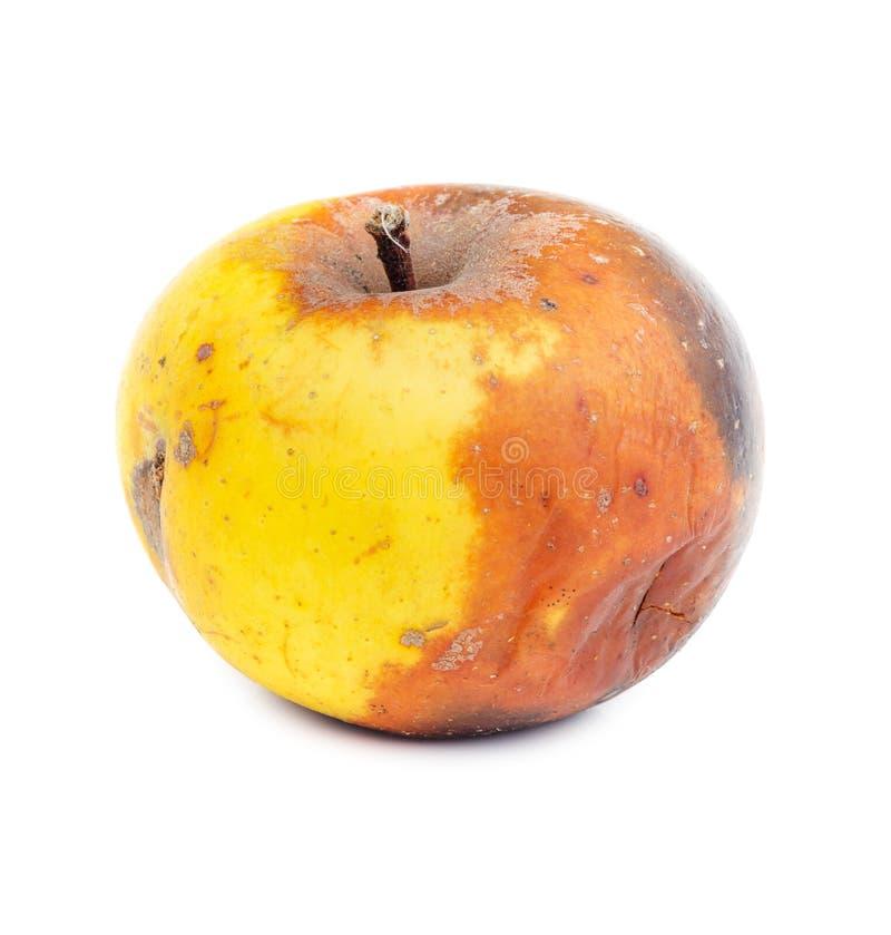 Ruttet gult äpple som isoleras på vit arkivfoton