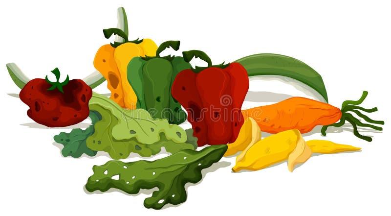 Ruttna grönsaker på golvet stock illustrationer